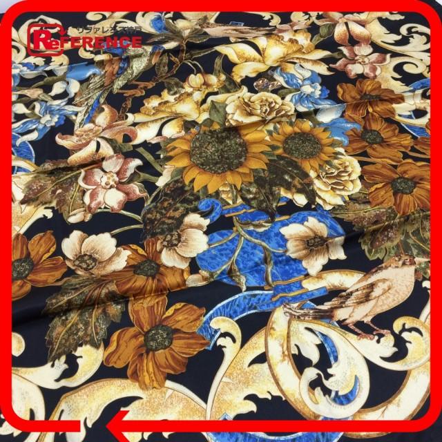 あす着 CHANEL シャネル シルクスカーフ 花柄 フラワー 大判ストール スカーフ シルク ブラック レディース