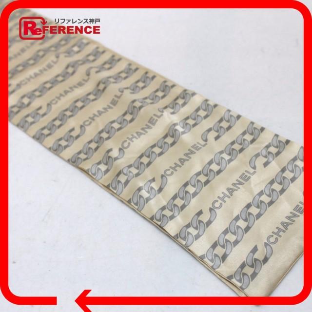 あす着 CHANEL シャネル ショール スカーフ チェーン・ロゴ柄 ストール シルク100% ベージュ レディース
