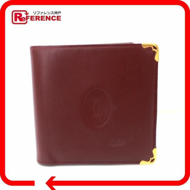 あす着 CARTIER カルティエ メンズ マストライン 二つ折り財布(小銭入れあり) レザー レッド