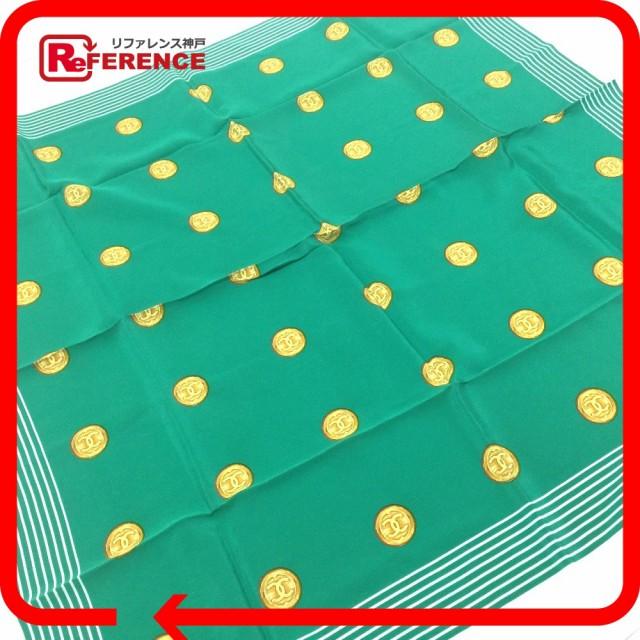 あす着 CHANEL シャネル シャネルコイン柄 ストール スカーフ シルク100% グリーン レディース