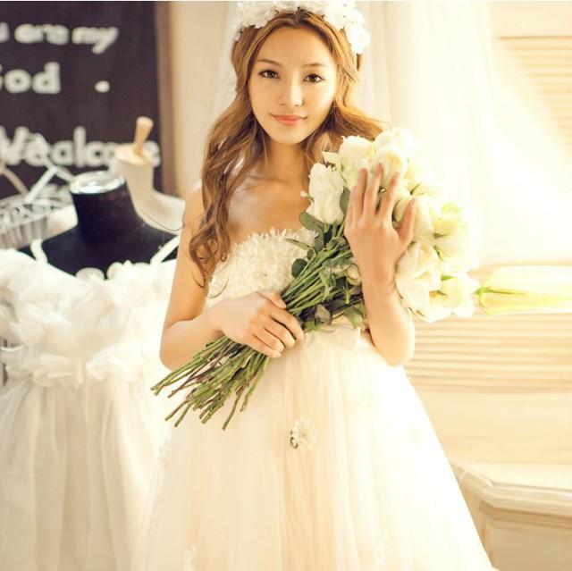 即納♪ウェディングドレス 結婚式 披露宴刺繍/...