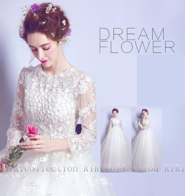 即日発送♪ ウェディングドレス ホワイト 花刺...