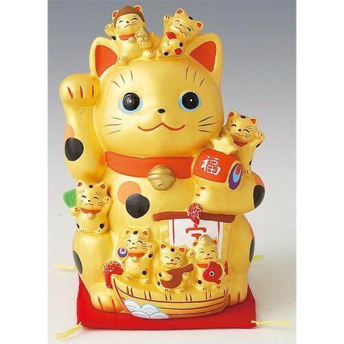 金運招福づくし招き猫 置物 かわいい 陶器 せとも...
