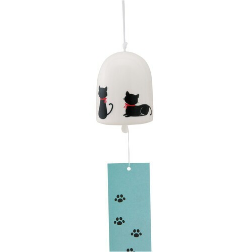 風鈴 丸風鈴(大)黒猫シルエット [高さ6.5 x 5.3...