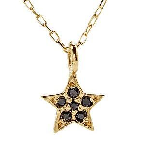 ブラックダイヤモンド ゴールド K18 スター 星 ネ...