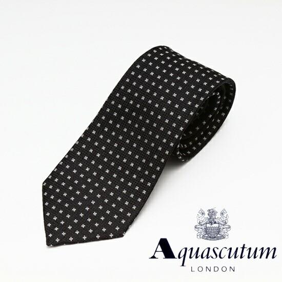 Aquascutum アクアスキュータム 総柄 シルク ネク...