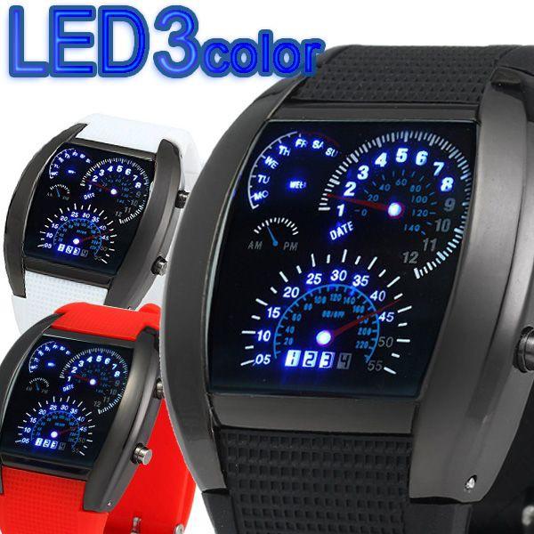 スピードメーター風LEDデジタル腕時計 タコメータ...