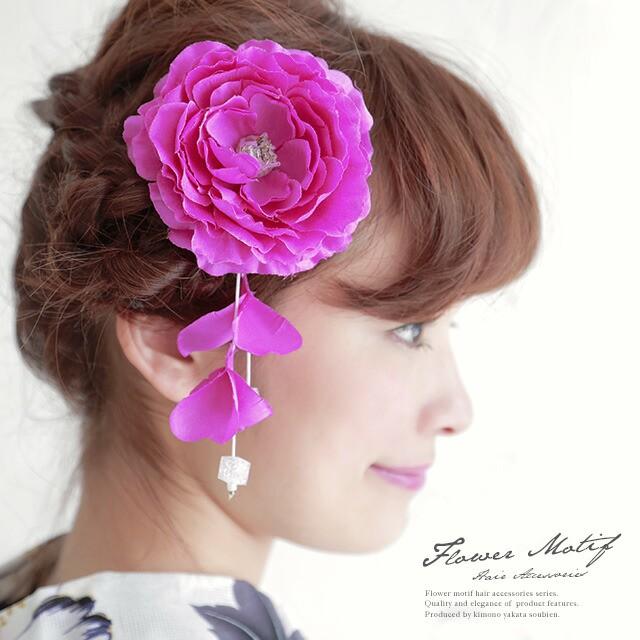 【着物や浴衣に☆かわいい花の髪飾り】ピンクマゼ...