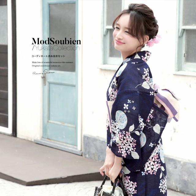 【bonheur saisonsの浴衣3点セット】紺/ネイビー/...