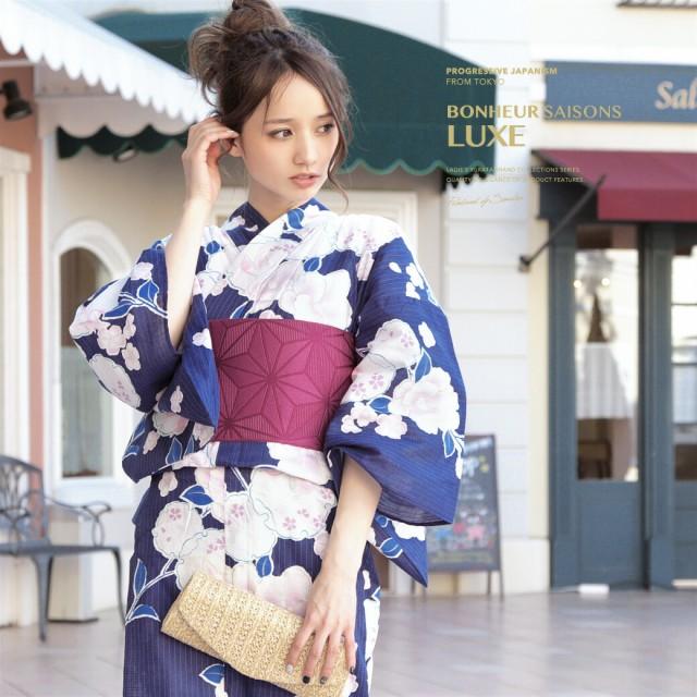 【bonheur saisonsの浴衣3点セット】紺青/ネイビ...