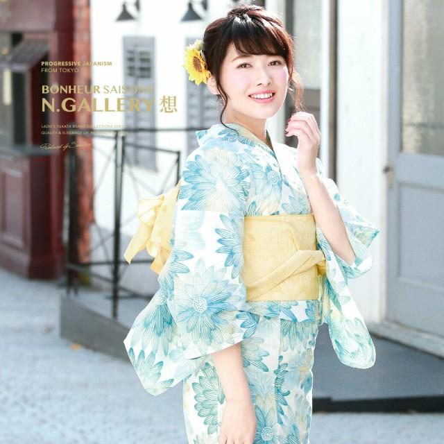 【bonheur saisonsの浴衣3点セット】水色/白/ガー...