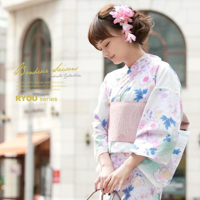 【bonheur saisonsの浴衣3点セット】白/アイボリ...