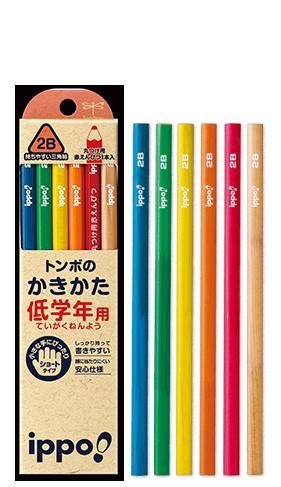 トンボ鉛筆 低学年用かきかたえんぴつ 三角軸 2B ...
