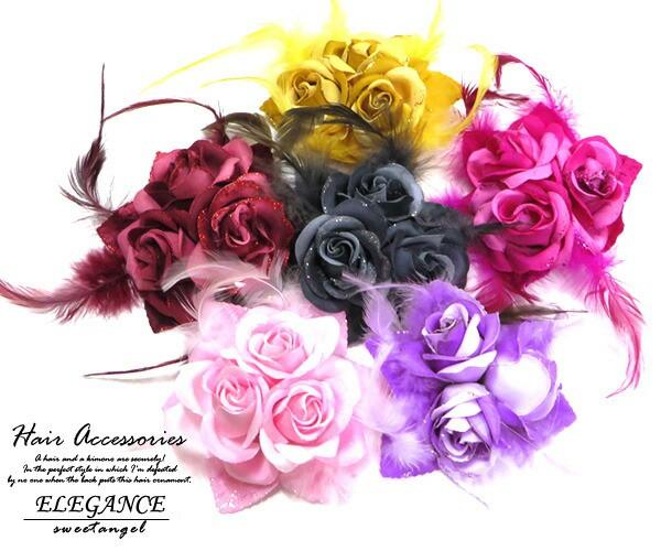 髪飾り コサージュ 薔薇3輪 ファー 8colors cs