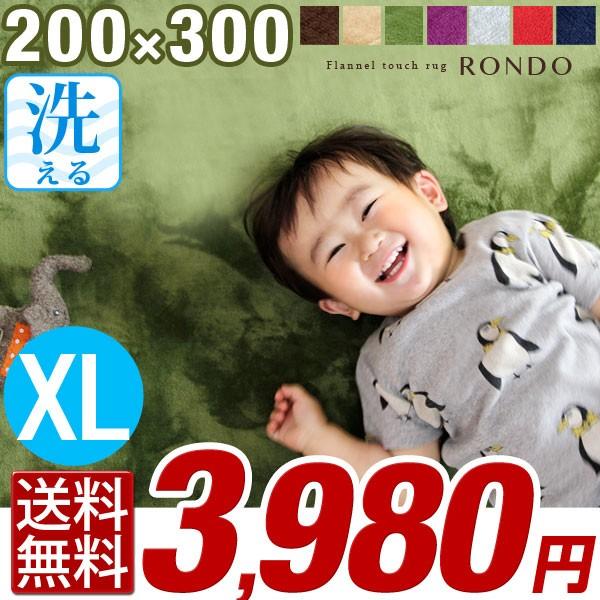 【送料無料】 洗える ラグ 200×300 洗える マイ...