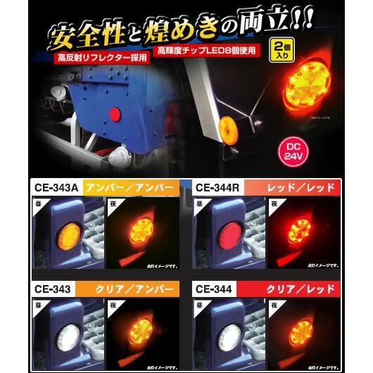 【流星レフランプ丸DC24V(レッド/レッド)】