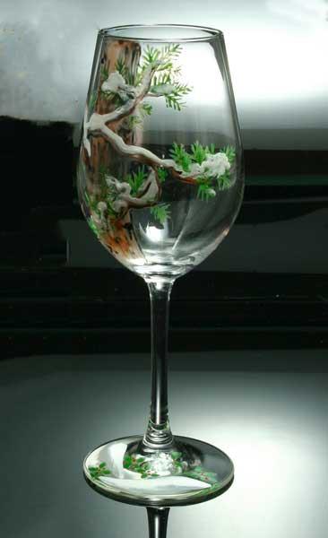 京焼き絵付け ワイングラス(小) 十二ケ月花鳥図...