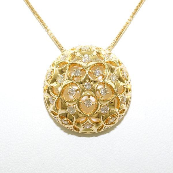 K18 18金 YG イエローゴールド ネックレス ダイヤ...