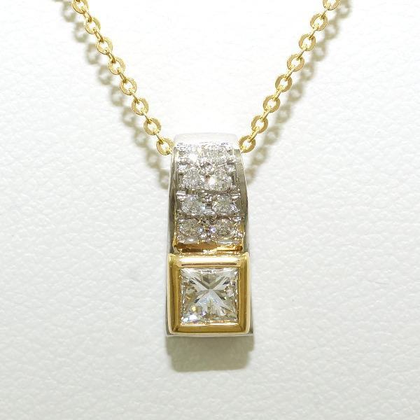 PT900 プラチナ K18YG ネックレス ダイヤ 0.27 SI...