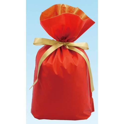 梨地リボン付き巾着袋 レッド×ゴールド Sサイズ ...