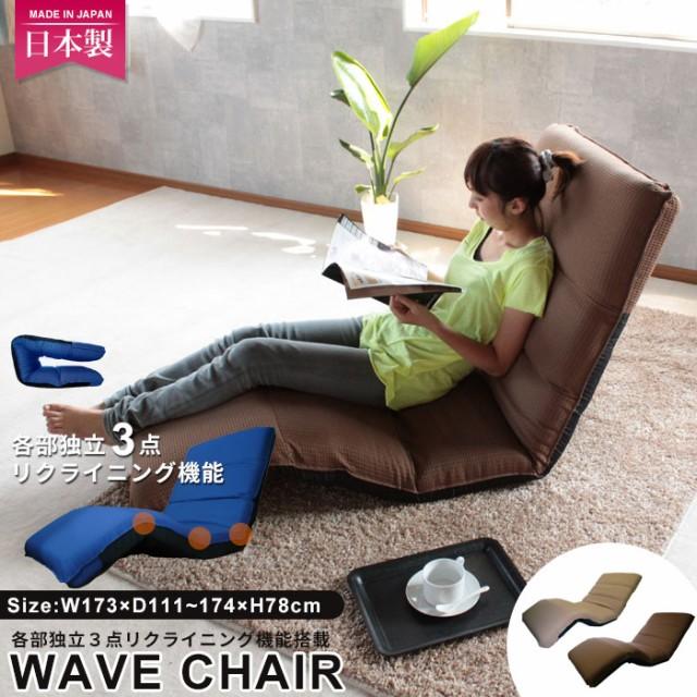 日本製 ワッフル素材 リクライニング 座椅子 ウェ...