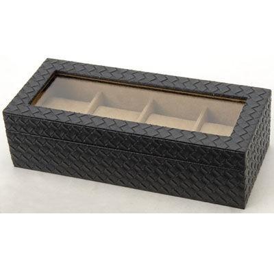 【送料無料】 MSBOX4 時計収納ケース ウォッチケース メッシュ型押し 4本収納時計ケース コレクションボックス 時計雑貨 【新品・税込】