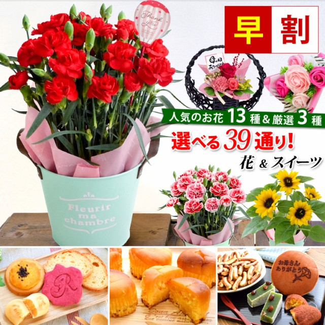 早割 母の日 花とセット ギフト 花 送料無料 組合せ39通り 13種類から選べるお花と3種類から選べるスイーツのセット