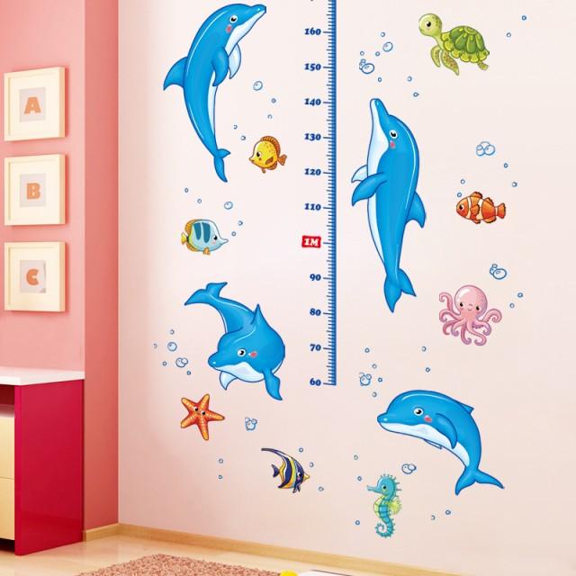 ウォールステッカー 身長計 イルカ 海の生物 イラスト付き身長計