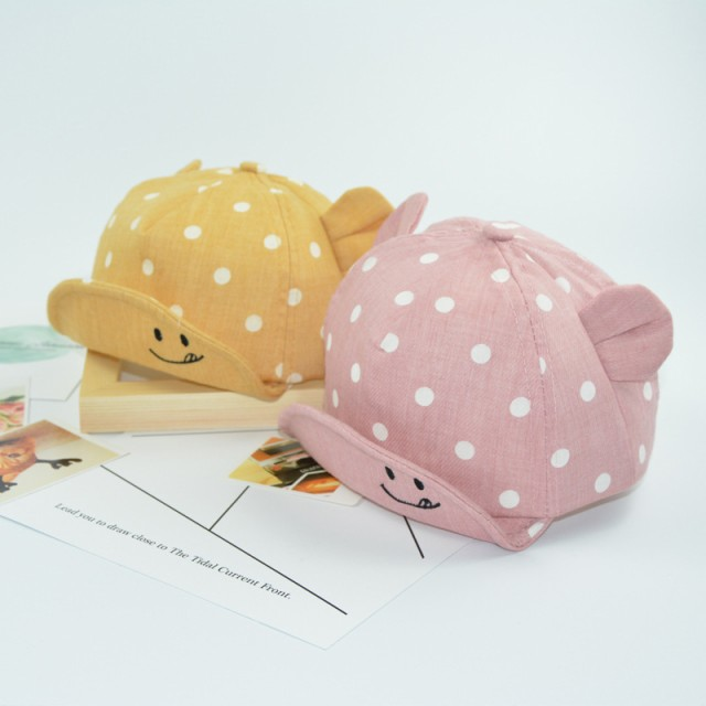 a3822e2bda7fb ベビーキャップ 帽子 つば付き 赤ちゃん 子供用 キッズ 男の子 女の子 水玉柄 耳つき カジュアル