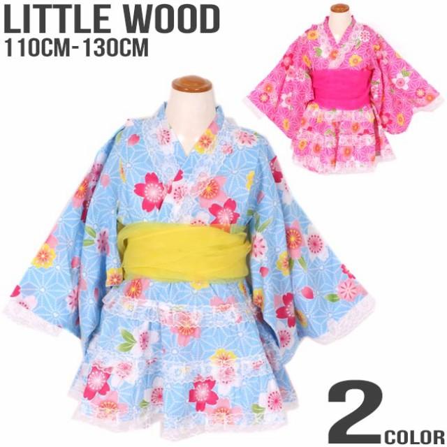 6879c57a94c2f 2018 夏物SALE 子供服 女の子 レース装飾 フラワー さくら柄 プリント 浴衣ドレス