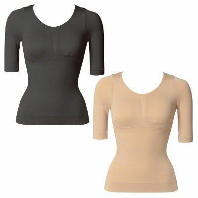吸湿発熱素材使用バストメイク&美姿勢着圧シャツ エアーフィットホット半袖シャツ