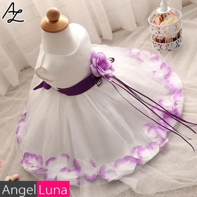 267f5dbe12710 子供服 女の子 ドレス 正装 フォーマル リボン 花びら コサージュ ホワイト ピンク レッド パープル ノースリーブ フラワーガール