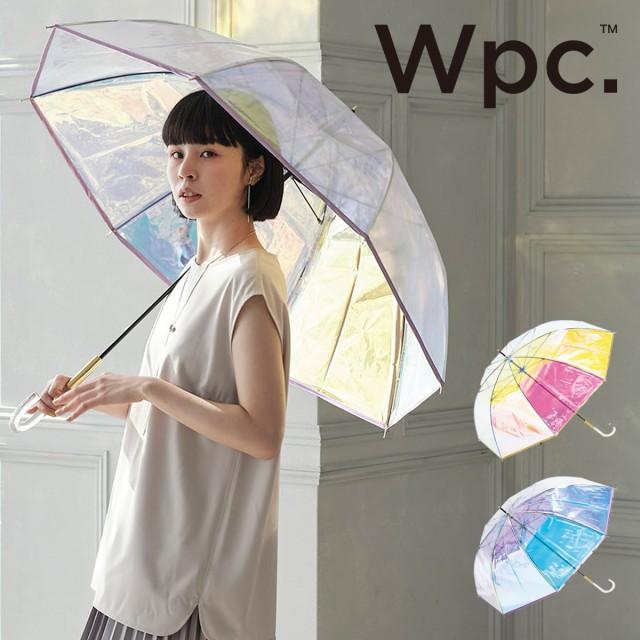 【レビューを書いてポイント+5%】Wpc. 傘 オーロラ パイピング 雨傘 長傘 ビニール傘 グラスファイバー レディース PT-028 PT-029 おし
