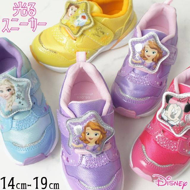 7d4998ef60646 キッズ ジュニア 女の子 スニーカー 運動靴 ディズニー Disney C1226 プリンセス ベルクロ LED搭載 光る靴 ソフィア