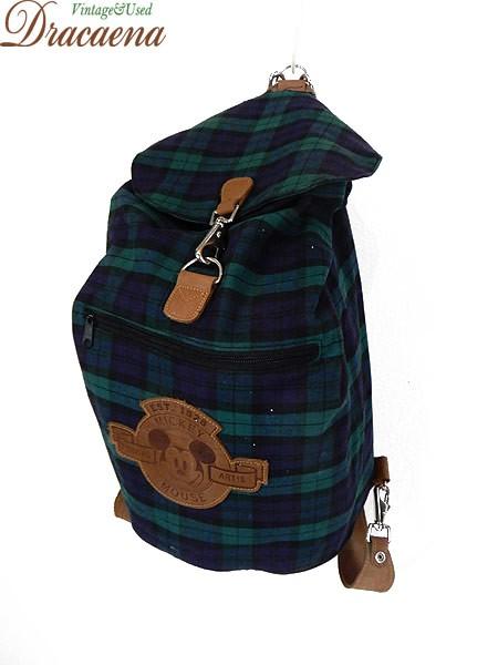 089e51149944 古着 バッグ Disney ディズニー ミッキー ブラックウォッチ フラップ リュックサック (バックパック) 大型 雑貨