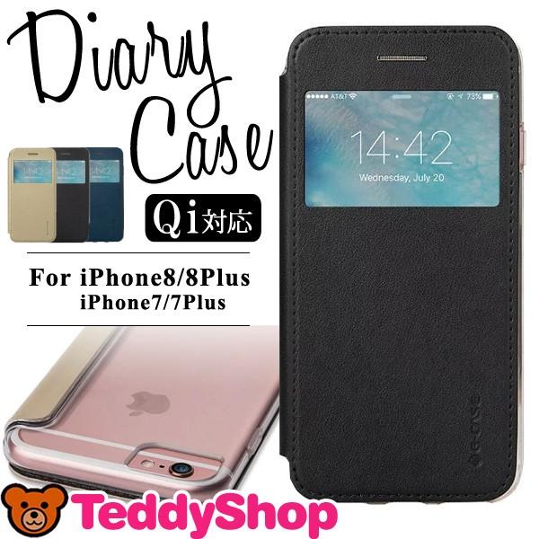 d688aaeaf4 iPhone8ケース iPhone8Plus iPhone7 Plus iPhone6s 手帳型 アイフォン8 窓付き 背面クリア レザー ハード