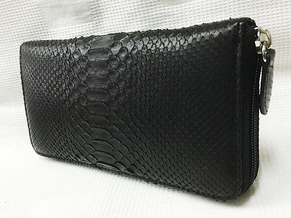 795dce7fd2a3 RODANIA パイソン/ラウンドファスナー長財布/OKU6754-BK(黒)の通販は ...
