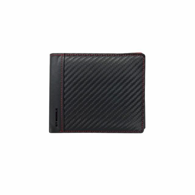 f30217b1b139 二つ折財布 ブラック 小銭入れ付 カード収納 ポケット カーボン 高品質 PUレザー スナップ