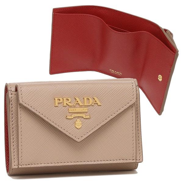 プラダ 財布 三つ折り財布 サフィアーノマルチカラー ミニ財布 ベージュ レッド レディース PRADA 1MH021 ZLP F0KNX【返品OK】