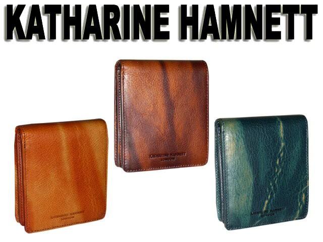67eec447fa08 [キャサリンハムネットロンドン] KATHARINE HAMNETT LONDON イタリアベジタブルタンニンレザー 二つ折り財布