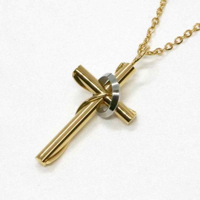 46127d2431d7c0 ステンレス ネックレス クロス 十字架 リング ゴールド カラー【ネックレス レディース メンズ SALE セール アクセサリー アクセ】