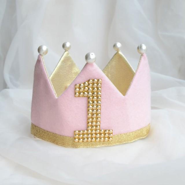 3e2e82b8639c9 BB バースデークラウン リバーシブル ピンク ワッペン付 キッズ 誕生日 冠 王冠 コスプレ 小道具 SNS インスタ