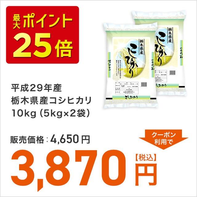 平成29年産栃木県産コシヒカリ10kg(5kg×2袋)お米