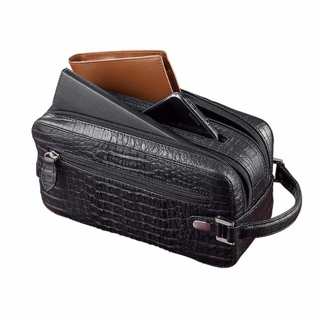 789d1ab27005 高級ワニ背革 多収納セカンドバッグ(メンズ/人気/ワニ革/セカンド