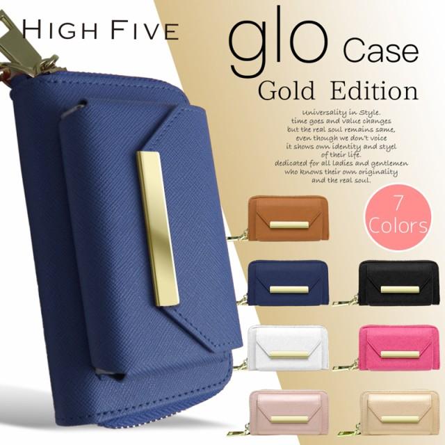 glo グロー サフィアーノ型押し PU レザー ゴールド ケース ハンド ストラップ 付属 gloケース グローケース 革 カバー グローカバー