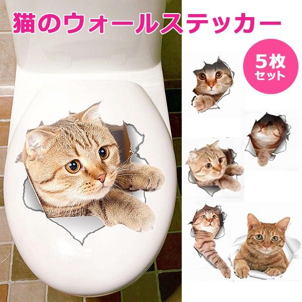 \いろんな場所から猫ちゃんが/■猫ウォールステッカー 5枚セット【送料無料】 猫 カワイイ ステッカー シール カワイイ 壁 模