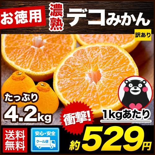お徳用 濃熟 デコ みかん 4.2kg 送料無料 クール便配送 速攻出荷 デコポン熊本県産柑橘 産地直送 3-5営業日以内に出荷