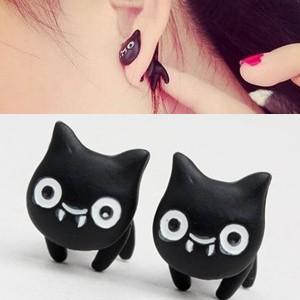 クロネコ 黒猫 小悪魔ピアス/1個販売 バックキャッチピアス ベア