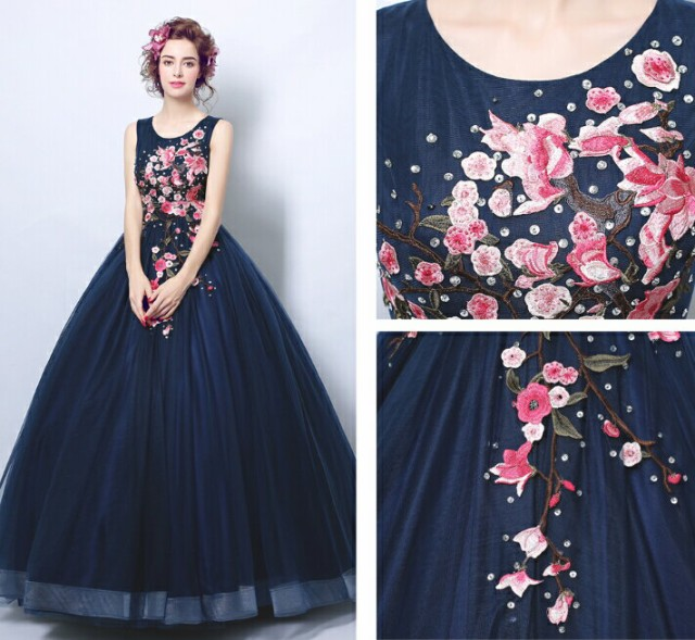 64b0f2502ee28 即納サイズあり ウェディングドレス ドレス 花柄 上品 カラードレス 結婚式 披露宴 刺繍