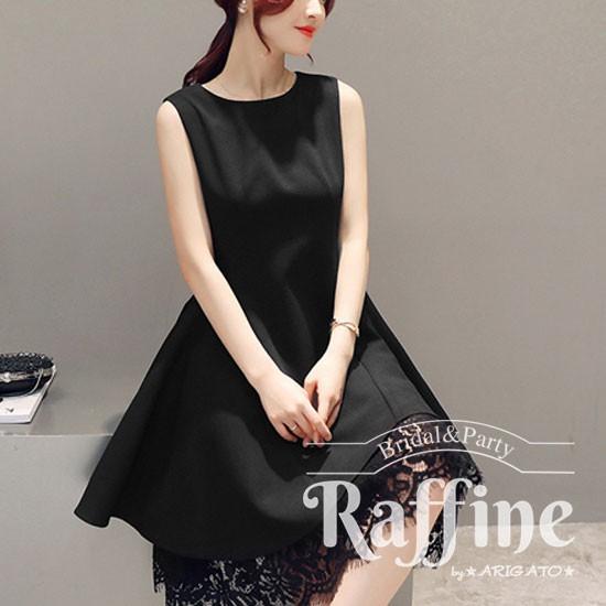 f70721d960391 パーティードレス 韓国 ワンピース 二次会 結婚式 お呼ばれ ドレス フレア コーデ ノースリーブ ブラック